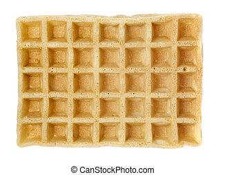 Waffle - Industrially manufactured waffle isolated on white