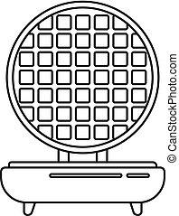 Waffle maker icon, outline style - Waffle maker icon. ...