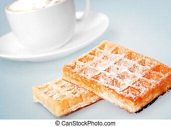 waffle on blue background