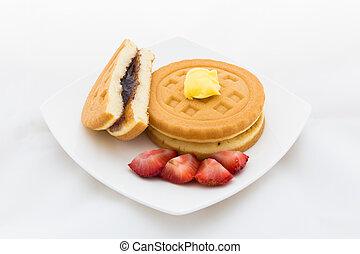 Waffle on White Background / Isolated Waffle for Coffee Break