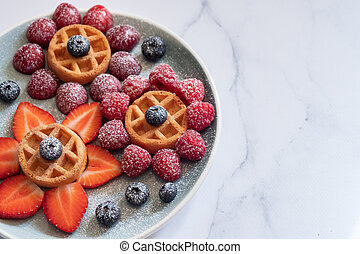 Waffle with berries for kids