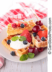 waffle with berry fruit