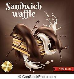 Waffle with chocolate and creamy filling
