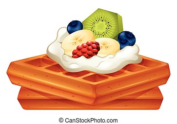 Waffle with cream and fruits