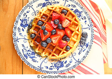Waffle with fresh fruit from overhead
