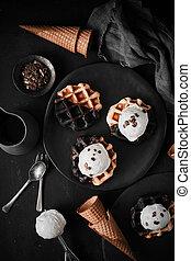 waffle with ice cream.