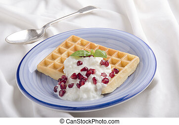 waffle with rice pudding on a plate