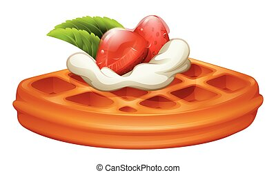 Waffle with strawberry and cream illustration