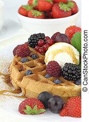 Waffle with vanilla ice cream