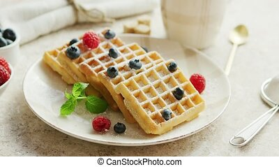 Waffles and berries on plate - Closeup shot of ceramic plate...