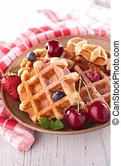 waffles and berry fruit