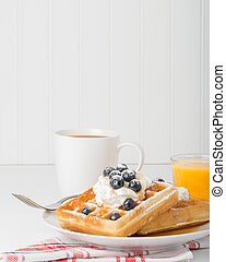 Waffles and Blueberries