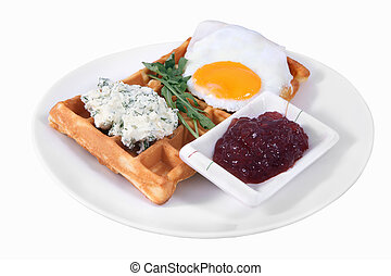 Breakfast on the plate, Belgian waffles with fried egg, cream cheese with dill, and cherry jam, isolated image on a white background, no body.