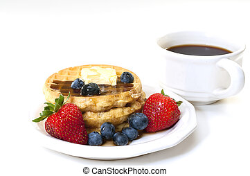 Waffles and Fruit Breakfast with Coffee