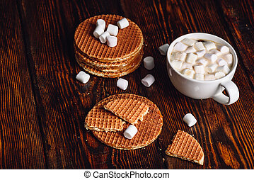 Waffles and Hot Cocoa with Marshmallow.