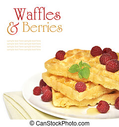 Waffles and raspberry