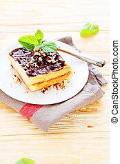 waffles, com, chocolate, ligado, um, prato branco