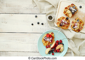 Waffles - Delicious waffles on the table