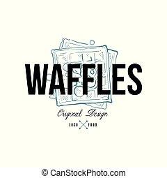 Waffles food logo original design, retro emblem for bakery shop, cafe, restaurant, cooking business, brand identity vector Illustration on a white background