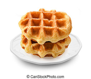 waffles in plate on white background