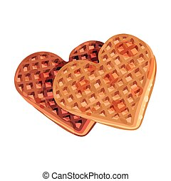 Waffles in the shape of a heart. Vector illustration on white background.