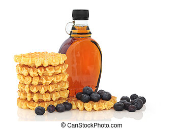 Waffles, Maple Syrup, Blueberries - Blueberry fruit with...