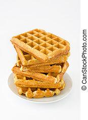 Waffles on white background
