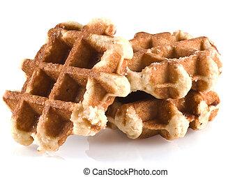 Waffles. - Three waffles isolated on a white background.