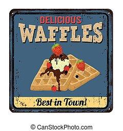 Waffles vintage metal sign