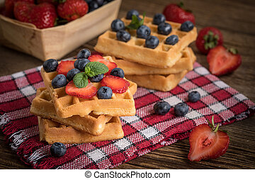 Waffles with berries.