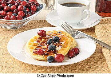Waffles with blueberries and cranberries