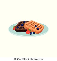 Waffles with blueberry and strawberry, food for breakfast vector Illustration on a white background
