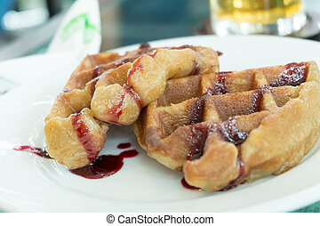 Waffles with Blueberry Syrup