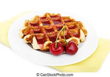 Waffles with cherries