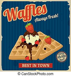Waffles with chocolate, ice cream and berries retro poster...