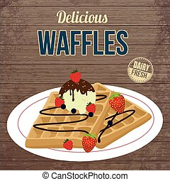 Waffles with chocolate, ice cream and berries retro poster -...