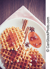 waffles with cranberry jam
