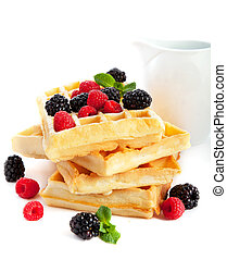 Waffles with fresh berries - Pile of waffles with fresh ...