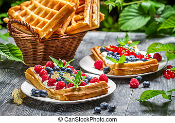 Waffles with fresh berry fruit and mint leaf