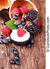 Waffles with fresh berry fruit