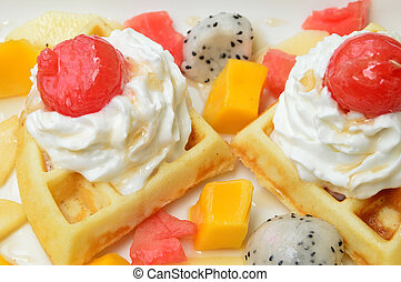 waffles with fresh fruits and cream