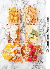 Waffles with fresh fruits