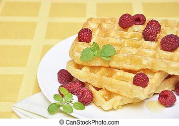 Waffles with honey