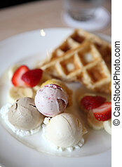Waffles with ice cream and fruits