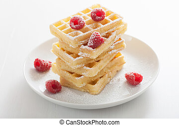 waffles with raspberry and icing sugar