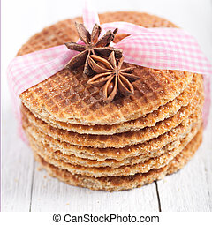 Waffles with star anise and a decorative ribbon