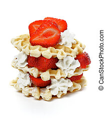 Waffles with Strawberries and Whipped Cream isolated on...