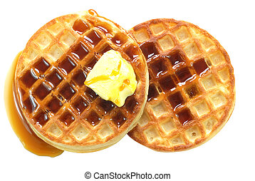 Waffles with syrup isolated on white background with clipping path.