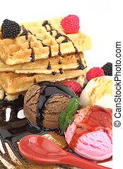 Waffles with vanilla, strawberry and chocolate ice cream