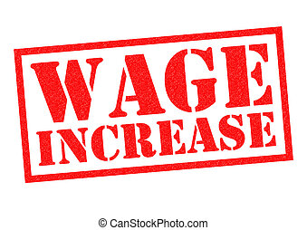 WAGE INCREASE red Rubber Stamp over a white background.